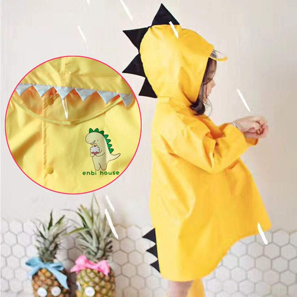 Swyss Raincoat for Kids Rain Jacket Age 3-8 Dinosaur Shaped Lightweight Rainwear Rain Slicker for Boy for Girl