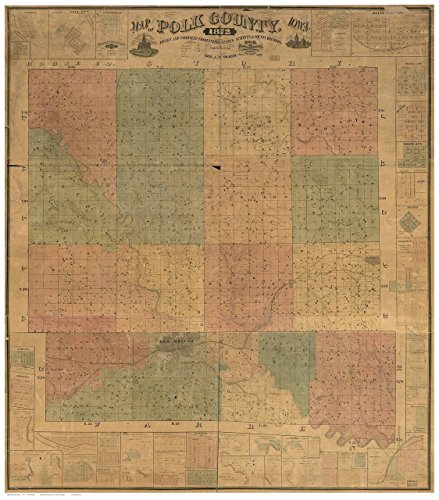 Polk County Iowa 1872 Wall Map with Landowner Names Farm Lines Genealogy - Old Map Reprint ()