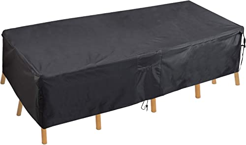 PATIOPTION Patio Table Cover, Rectangular Furniture Set Cover Outdoor Square Cover 600D Heavy Duty Tough Canvas Waterproof Dustproof Dining Table Chair Set Cover w Storage Bag -128L x 82W x 29H inch