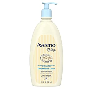 Aveeno Baby Daily Moisture Lotion for Delicate Skin with Natural Colloidal Oatmeal & Dimethicone, Hypoallergenic, Fragrance-, Phthalate- & Paraben-Free, 18 fl. Oz- 2 Pack
