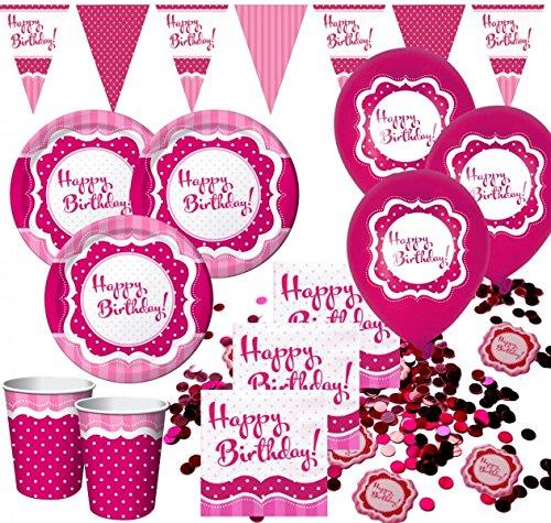 58 pezzi set decorazione festa Happy Birthday Perfectly rosa per 16 persone