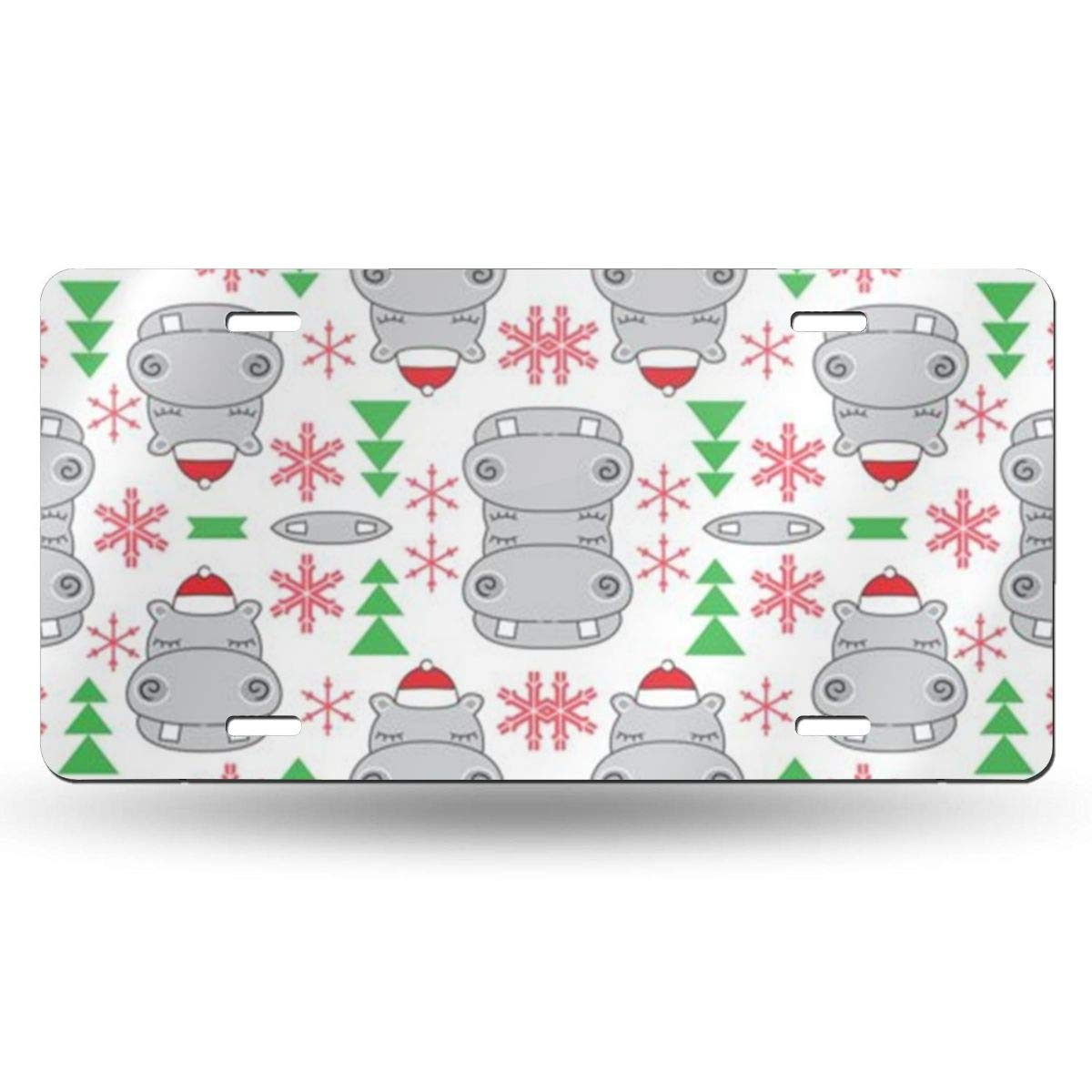 PIOPIEK Christmas Hippos with Santa Hats US License Plate Tag from 50 States in The United States,Customized Unique Printed License Plate,Suitable for All Cars,Used for Room Decoration,Bar Decoration License Plate Covers & Frames Covers