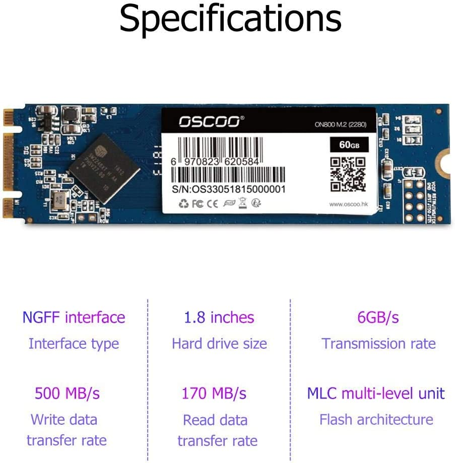 OSCOO OSC-SSD-2280 NGFF SSD Hard Drive for Laptop Solid State Drive 120GB