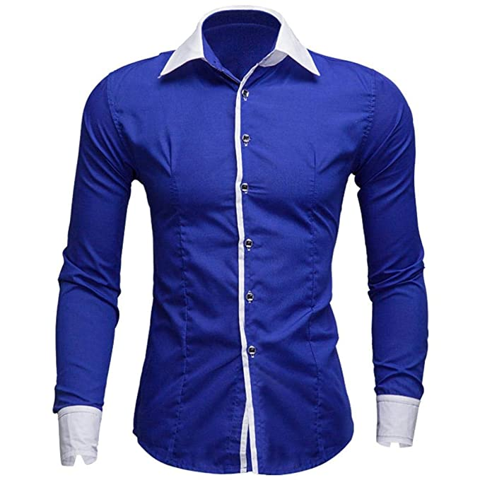 1b9d849af4 Hombre Camisas Moda Manga Larga de Color Puro para Hombre Men Fashion Slim  Fit Casual Long Sleeves Shirts 2028  Amazon.es  Ropa y accesorios