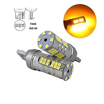 ZXREEK Bombillas LED de alta potencia T20 7440 W21W 25 W 54 3030 SMD ámbar amarillo