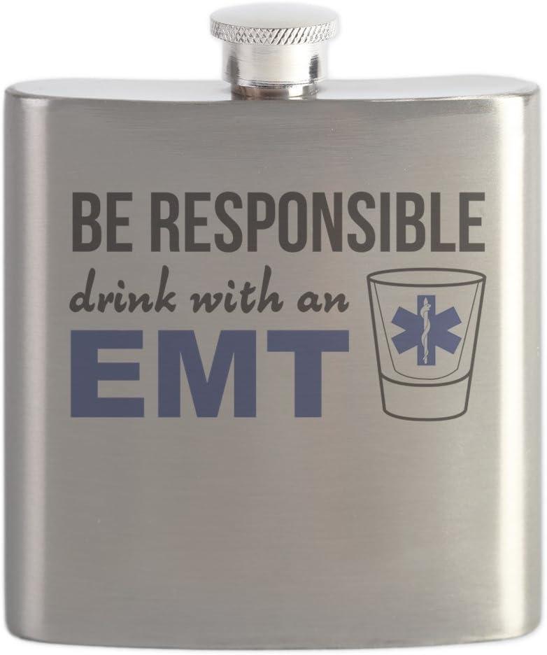 CafePress – Drink with an EMT – ステンレススチールフラスコ、6オンスDrinkingフラスコ