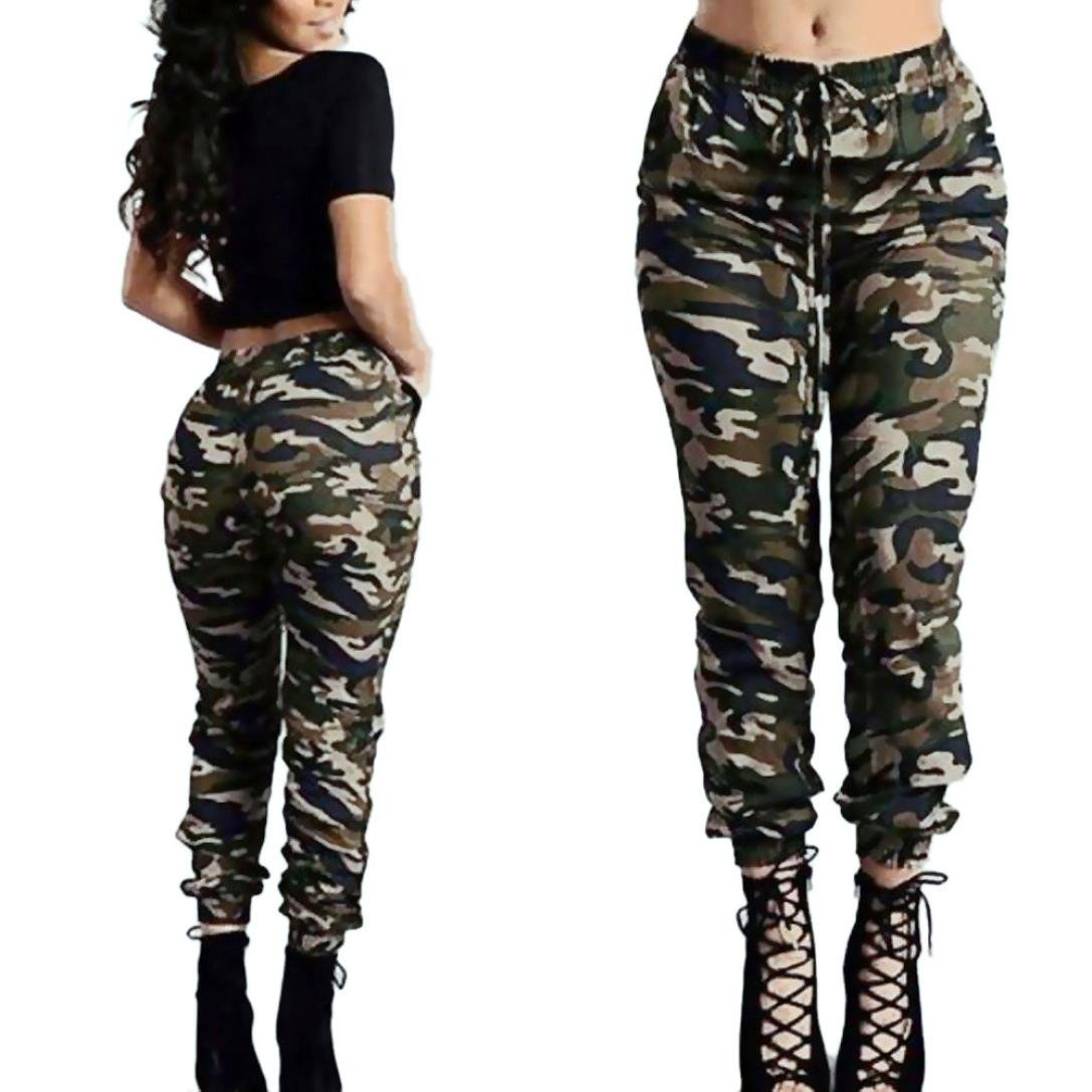 Gotd Women High Waist Camouflage Army Green Casual Loose Pants Trousers Autumn Winter Plus Size (XL, Multicolor) Goodtrade8