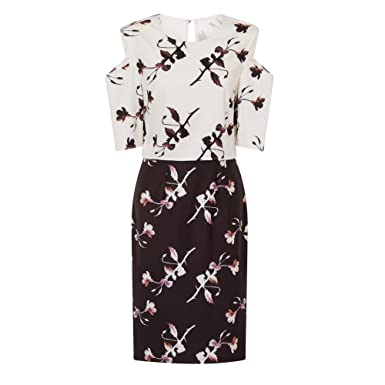 09b50886af5 Little Mistress Womens/Ladies Cold Shoulder Floral Bodycon Dress (8) (White/
