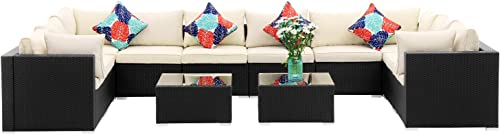 OVASTLKUY Outdoor Patio Furniture Rattan Wicker Sectional Sofa Sets Washable Seat Cushions 12pc