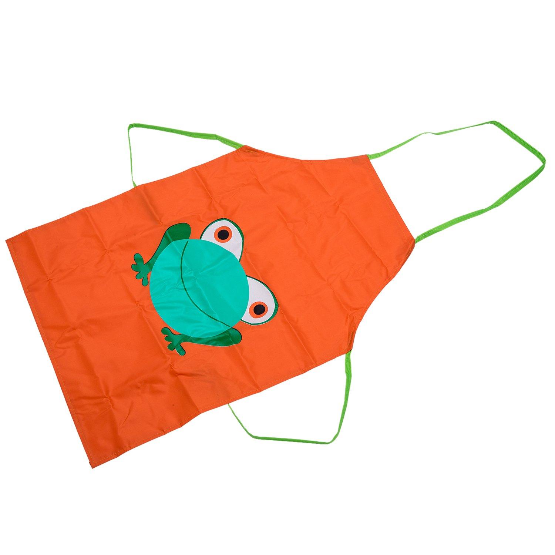 38369aecb TOOGOO (R) Impermeable ninos delantal de dibujos animados de la rana  Impreso Cocina Pintura Nueva del nino lindo - Naranja: Amazon.es: Hogar