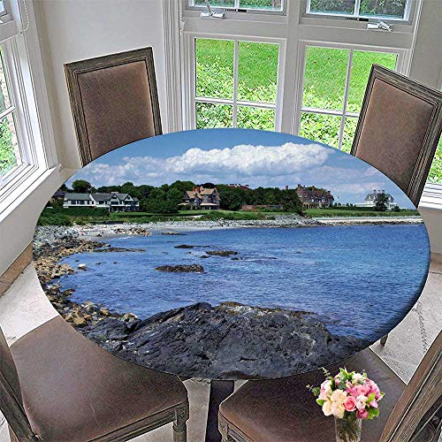 PINAFORE HOME Round Fitted Tablecloth Rhode Island Coast for All Occasions 47.5