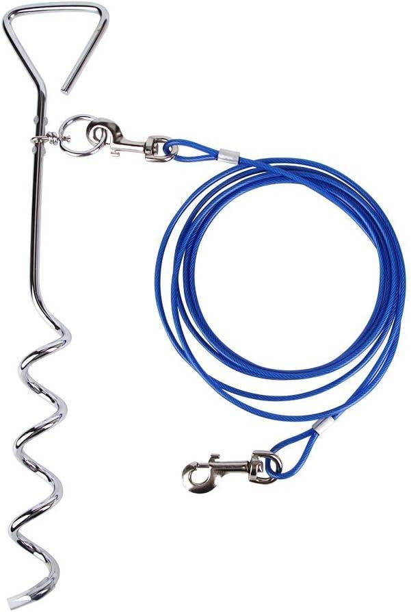 NEWSIHUI - Cable de Amarre para Perro (3 m) con estaca en Espiral ...