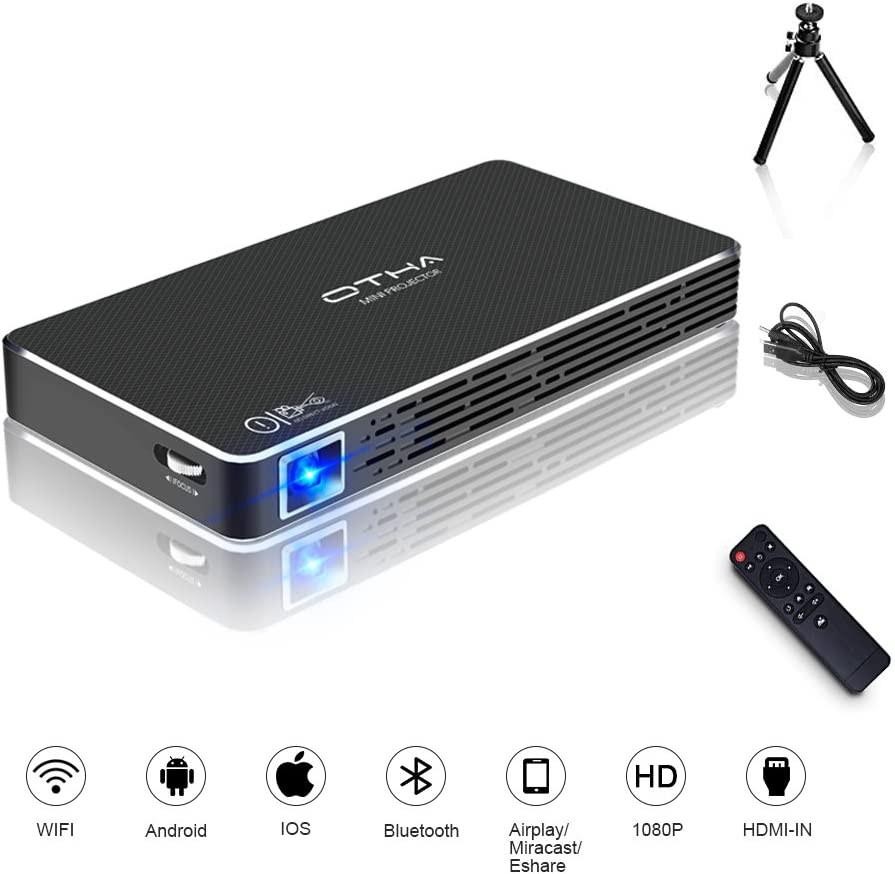 OTHA Mini Proyector Android 7.1, Portatil Proyectores DLP LED Home Cinema Compatible con 1080P Full HD, WFi Entrada HDMI para iPhone Laptop PC