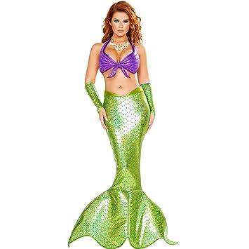 QMKJ Vestido de Dama de Lujo Sirena Cosplay Traje Brillante ...