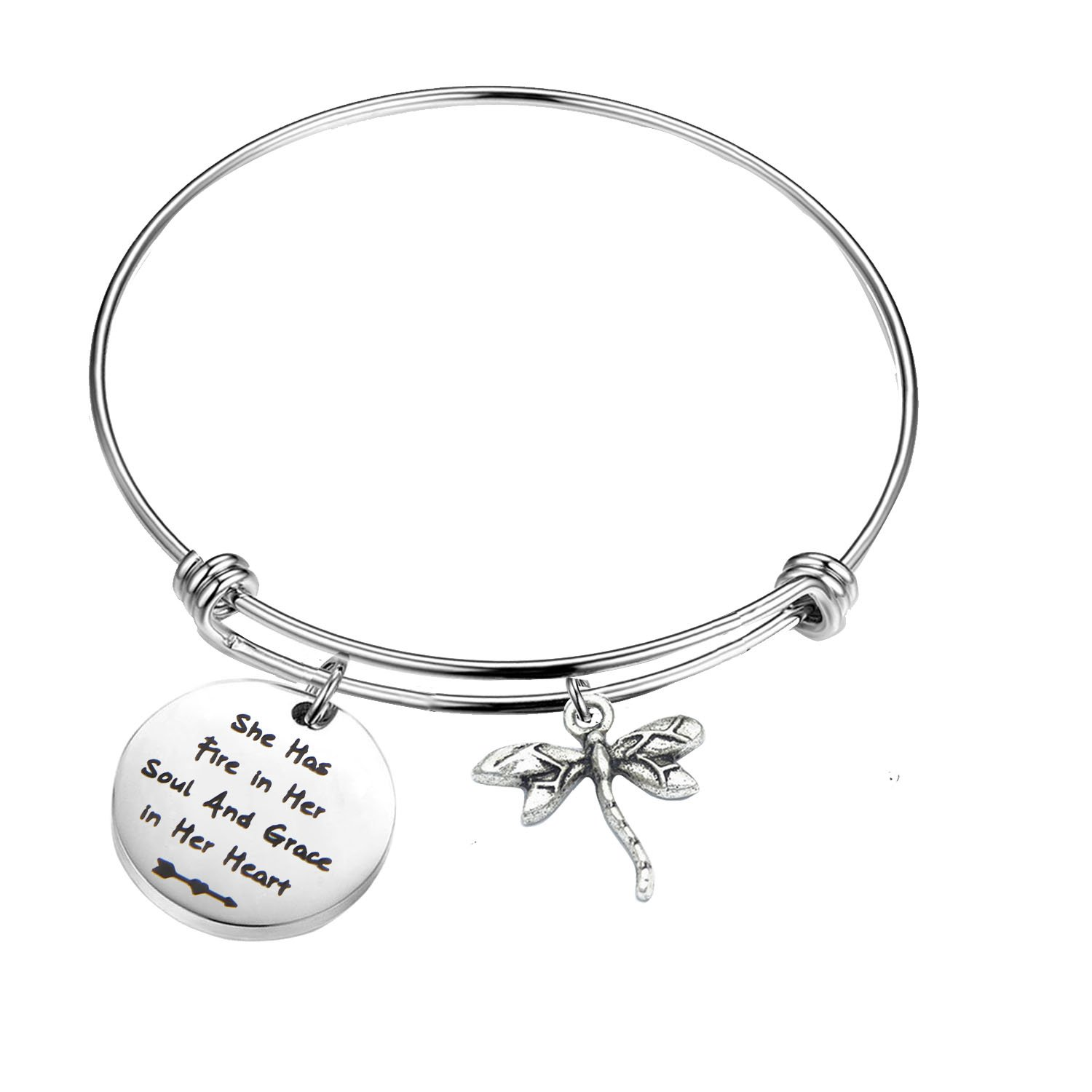 PLITI Inspirational Jewelry Graduation Gift She Has Fire in Her Soul and Grace in Her Heart Bracelet with Dragonfly Charm Motivational Faith Gift for Her (She has fire in Soul)