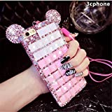 Bling Samsung Galaxy S8 Plus Diamond Case With Chain,Chanyaozy[DIY][Glitter]Luxury Diamond Mouse Ears Soft Rubber Case (Pink)