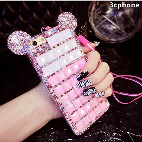 Bling iPhone 7 Plus Diamond Case With Chain,Chanyaozy[DIY][Glitter]Luxury Diamond Mouse Ears Soft Rubber Case (Diy Minnie Ears)