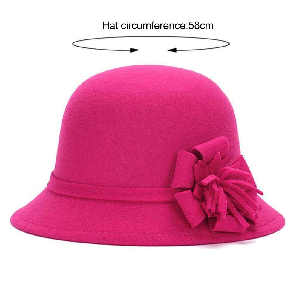 Women Warm Bowler Cap Winter Vintage Elegant Wool Flower Felt Hat Bucket Hat Flower Felt Cap Cloche Hat