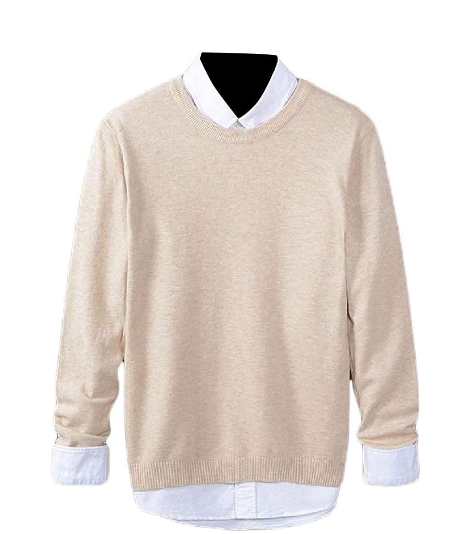 YUNY Mens Soft Pure Color Fall Winter Long Sleeve Knit Pullover Sweater XL