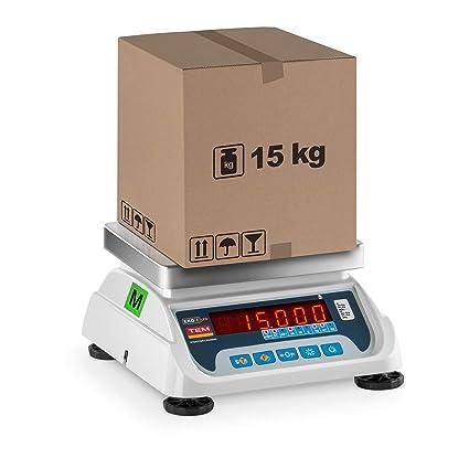 TEM Balanza Comercial TEKO+LED15T-PLS-B1 (calibrada, 6 kg/