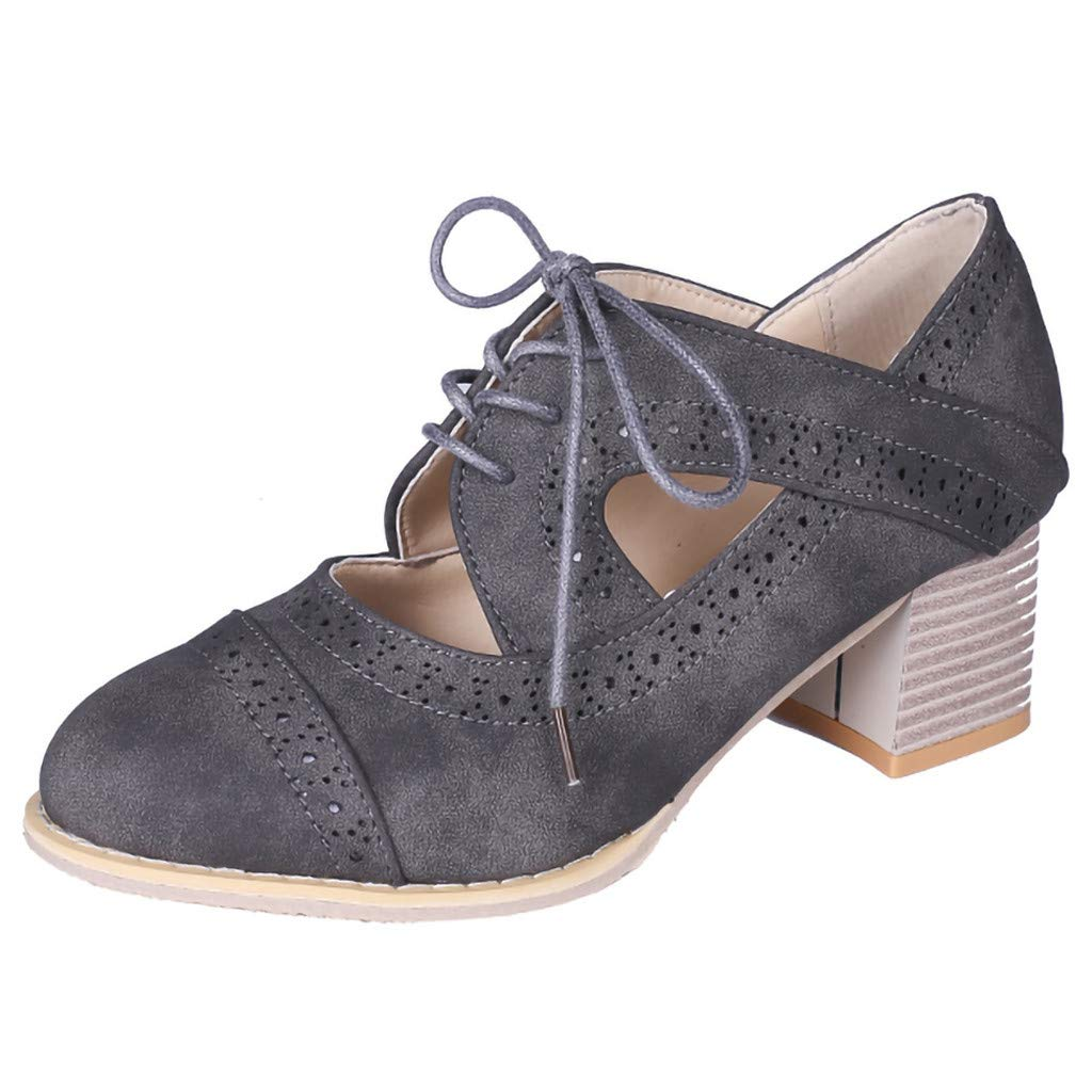 Kauneus  Women's Cut Out Ankle Boots Breathable Vintage Oxford Block Heel Pumps Gray by Kauneus Fashion Shoes