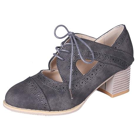 LuckyGirls Zapatos de Tacón de Mujer Ante Heuco Moda Casuales Zapatos de Fiesta Zapatillas con Cordones