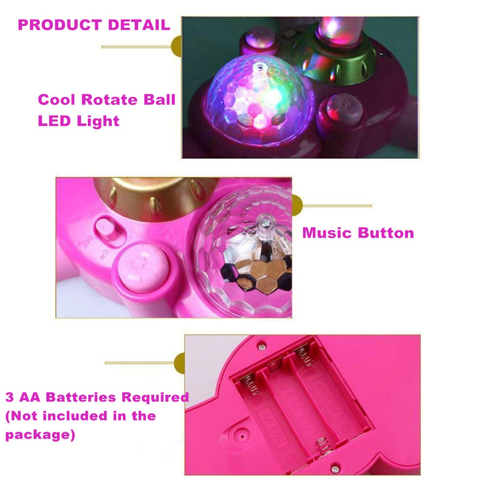 OceanEC Kids Karaoke Machine 2 Microphones, Pink AUX Cable Connect to Your Electronic Devices for Music Kids Karaoke Music Toy Play Set with Microphone and Adjustable Stand