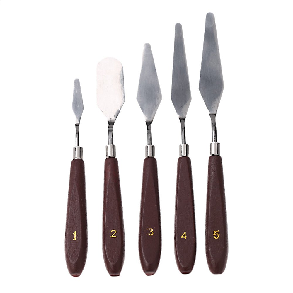 Anself 5pcs Stainless Steel Palette Knife Mixed Scraper Set Spatula Knives for Artist Oil Painting [Energy Class A]