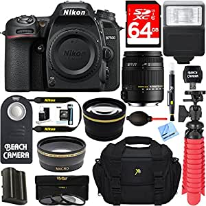 Nikon D7500 20.9MP DX-Format 4K Ultra HD Digital SLR Camera Body + Sigma 18-250mm F3.5-6.3 DC OS HSM Macro Lens Accessory Bundle