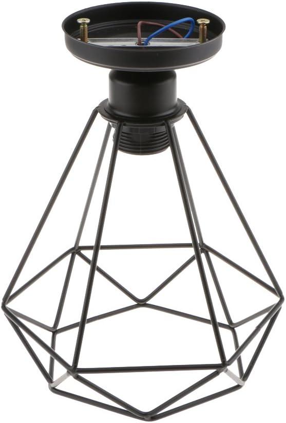PETSOLA Colgante De Alambre Antiguo Diamante Techo Luz Superior Jaula Lámpara Sombra Titular 24x21cm, Accesorios De Iluminación