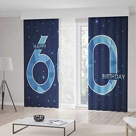 IPrint 60th Birthday Decorations Room Decor CurtainsSpace Theme Stage With Star Like Abstract Details