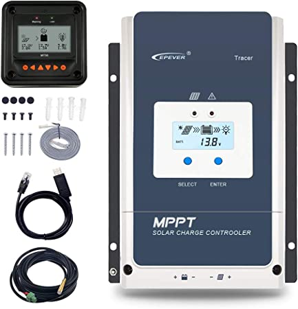 EPEVER 80A MPPT Solar Charge Controller 12V//24V//36V//48V Auto Max.PV 150V Input Negative Ground Solar Panel Charge Regulator with MT50 Remote Meter Temperature Sensor RTS /& PC Communication Cable RS485