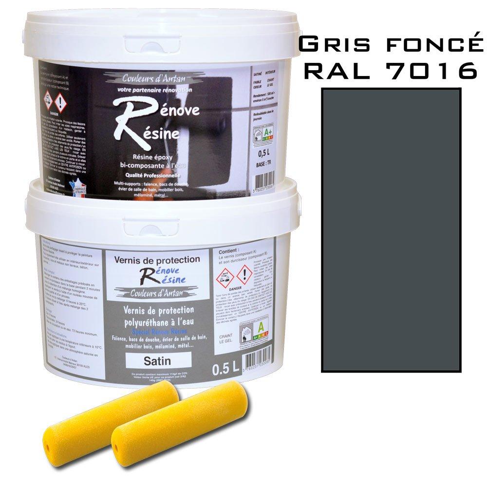 Peinture résine epoxy colorée multisupport +vernis protection satin : idéal carrelage, évier, mélaminé - Couleur gris foncé RAL 7016 - 0,5L évier mélaminé - Couleur gris foncé RAL 7016 - 0