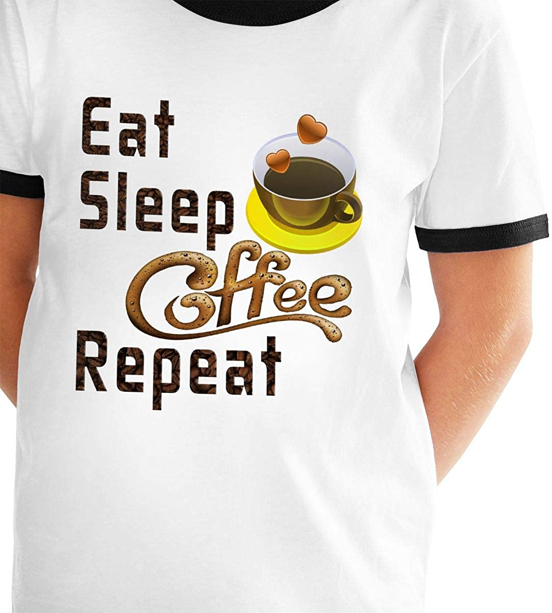 Youth Printed Boys Girls Eat Sleep Coffee Repeat-2 Teens Short Sleeve T-Shirt Tees Shirts Tops Sport