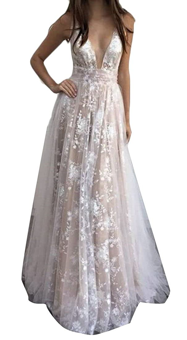 Cromoncent Women Gowns Gown V-Neck Lace Pleated Maxi Bridal Bridesmaid Dress