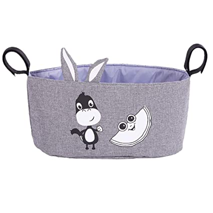 Bolsa de almacenamiento para cochecito de bebé de lino y dibujos animados de alta capacidad (