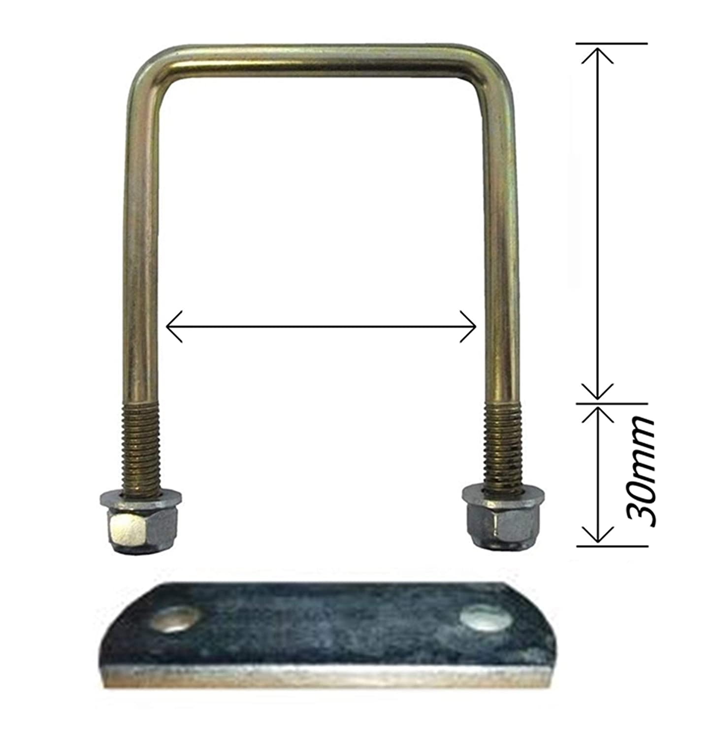 LMX2311 leisure MART U Bolt 60 mm x 60 mm high tensile with locking nuts and washers complete with fixing plate Pt no
