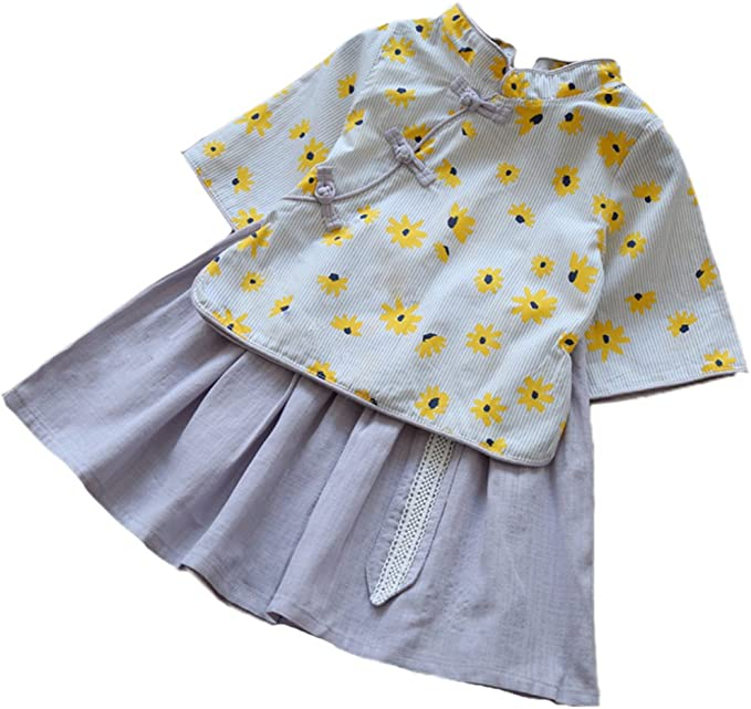 Conjunto de Falda con Top Falda para niñas, Dos Piezas de Qipao y ...