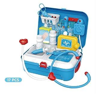 Volwco Set di stetoscopio elettronico e 17 Giocattoli Divertenti per Bambini, con Custodia per Il Trasporto, per Bambini e Bambine dai 3 Anni in su