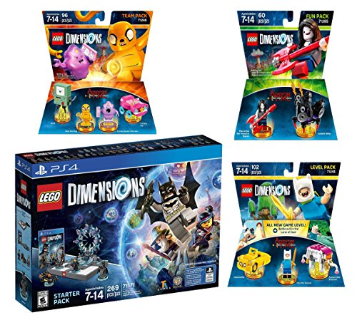 Lego Dimensions Starter Pack + Adventure Time Finn The Human Level Pack + Jake The Dog Team Pack + Marceline The Vampire Queen Fun Pack for Playstation 4 or PS4 Pro Console by WB Lego