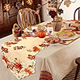 fall table decorations OurWarm 15 x 67 Inch Embroidered Maple Leaves Table Runner, Handmade Table Cover for Fall and Thanksgiving Party Decoration