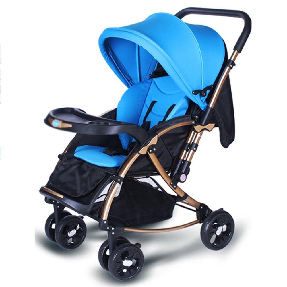 LVZAIXI 新生児用ベビーカー軽量折りたたみ式のプッシュチェア ( 色 : 青 ) B07C787DL2 青 青