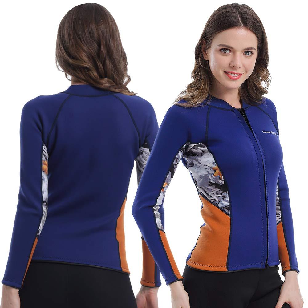 Womens Wetsuit Top, 2mm Zip Wetsuit Jacket Long Sleeve for Canoeing Sea Kayaking Snorkeling Diving Water Aerobics (Womens Wetsuit Top, XL) by Seaskin