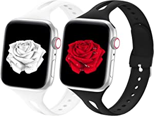 Bandiction Sport Band Compatible with Apple Watch Bands 38mm 40mm Series 6 Series 3, Breathable Silicone Narrow Sport iWatch Bands Replacement Strap for iWatch SE Series 6 5 4 3 2 1,38mm 40mm, 2 Pack
