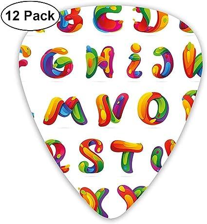 Púas de guitarra Paquete de 12, diseño artístico de letras del ...