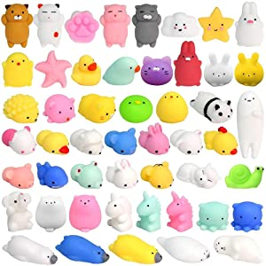 36PCS Mochi Squishy Toys FLY2SKY Mochi Animal Squishies Toys Squeeze Kawaii Squishy Cat Stress Reliever Anxiety Toys Easter Bunny Unicorn Mini Squishy Easter egg fillers Easter gifts for Kids, Random