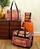 Lakeside Collection 481005023 3 Piece Printed Travel Bag Set - Orange Aztec offers