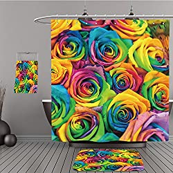 Uhoo Bathroom Suits & Shower Curtains Floor Mats And Bath Towels 127274552 bouquet of colored roses (Rainbow rose) For Bathroom