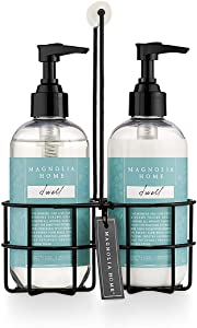 Magnolia Home Fragrance Dwell Scent 8 Ounce Hand Wash and Lotion Sink Caddy Set