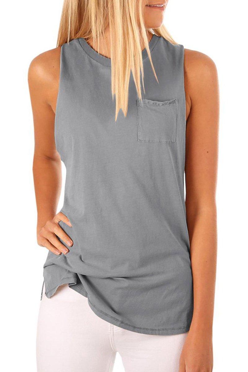 LAICIGO Women's High Neck Tank Top Sleeveless Blouse Plain T Shirts Pocket Cami Summer Tops